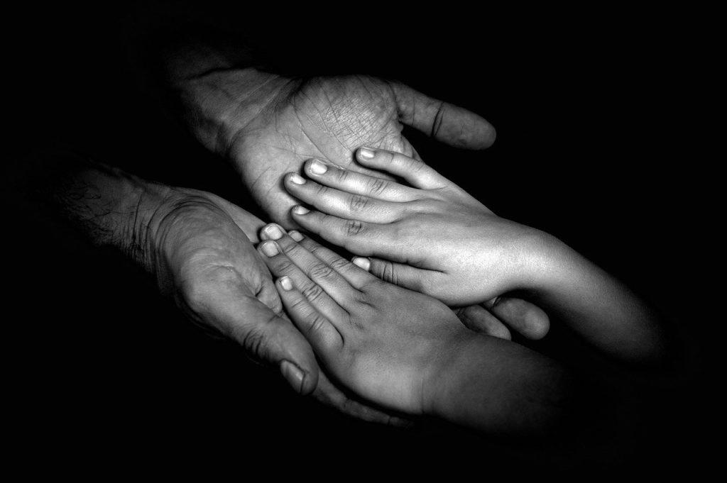 hands, family, parent